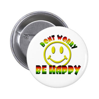 Happy Face - Don't Worry Be Happy Rastafari Colors Buttons