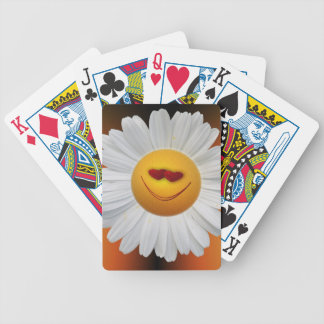 Happy Face Flower Bicycle Playing Cards