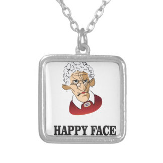 happy face granny silver plated necklace