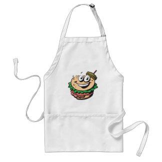 happy face hamburger adult apron