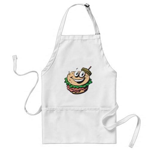 happy face hamburger apron
