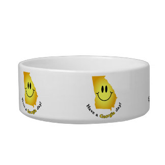 Happy Face - Have a Georgia Day! Pet Food Bowls