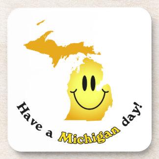Happy Face - Have a Michigan Day! Beverage Coaster