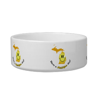 Happy Face - Have a Michigan Day! Cat Water Bowls