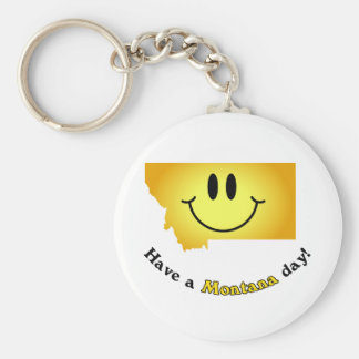 Happy Face - Have a Montana Day Keychains