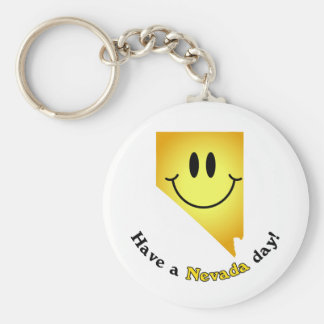 Happy Face - Have a Nevada Day! Basic Round Button Keychain