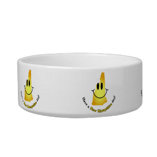 Happy Face - Have a New Hampshire Day! Cat Food Bowl