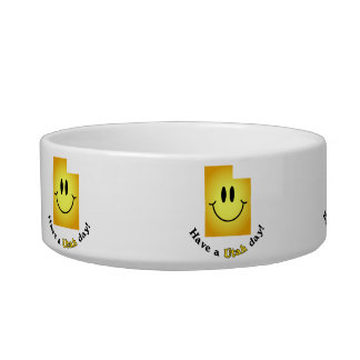 Happy Face - Have a Utah Day! Cat Bowls
