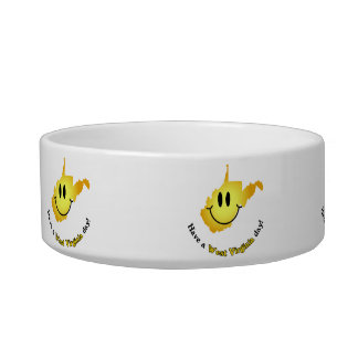 Happy Face - Have a West Virginia Day! Cat Bowl