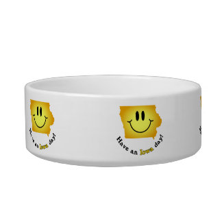 Happy Face - Have an Iowa Day! Cat Water Bowl
