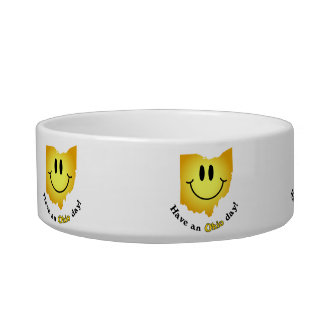 Happy Face - Have an Ohio Day! Cat Food Bowl