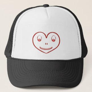 Happy face heart trucker hat