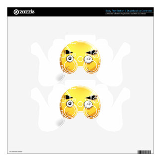 Happy face on yellow badge PS3 controller skin