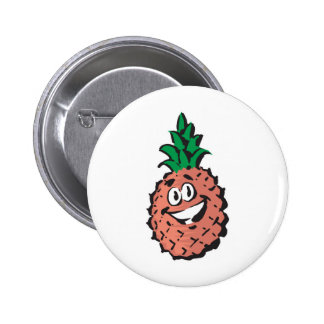 happy face pineapple 2 inch round button