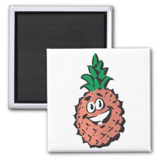 happy face pineapple 2 inch square magnet