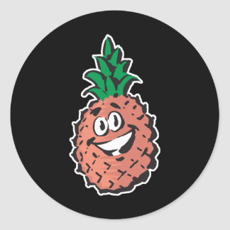 happy face pineapple classic round sticker