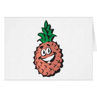 happy face pineapple greeting card