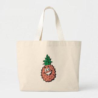 happy face pineapple jumbo tote bag