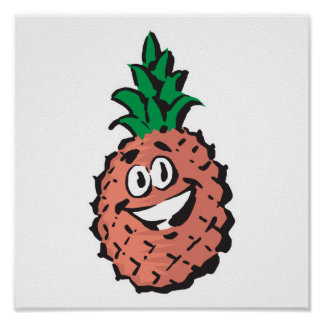 happy face pineapple poster