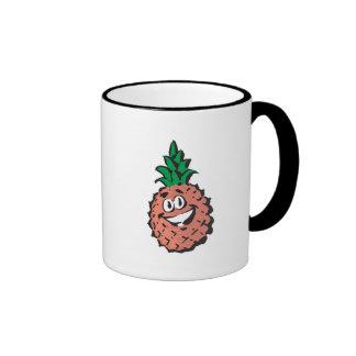 happy face pineapple ringer coffee mug