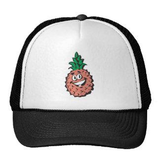 happy face pineapple trucker hat