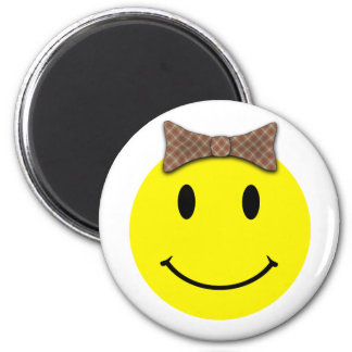 Happy Face Red Plaid 2 Inch Round Magnet