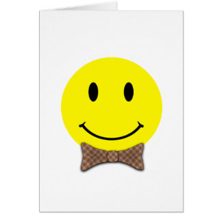 Happy Face Red Plaid Card