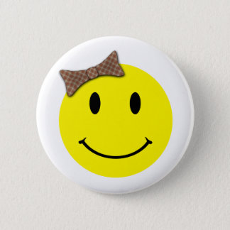Happy Face Red Plaid Pinback Button