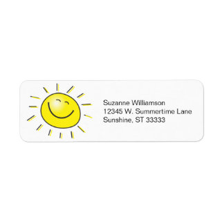 Happy Face Smiley Sun Personalized Name Address Labels