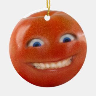 Happy Face Smiling Tomato Ceramic Ornament
