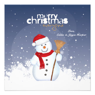 Happy Face Snowman Holiday Card Personalized Announcement