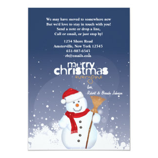 """Happy Face Snowman Holiday Moving Announcement 5"""" X 7"""" Invitation Card"""
