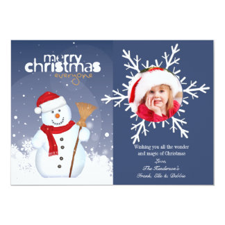 Happy Face Snowman Photo Holiday Card