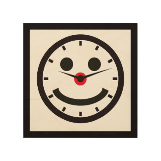 Happy Face Time - Clocked Wood Print