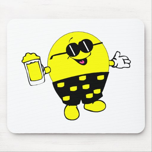 Happy Face with Beer Mouse Pad