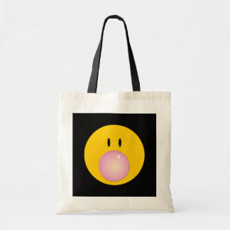 happy face with bubble gum tote bag