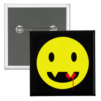Happy Face with Fangs and Blood Tshirts Pinback Button