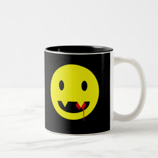 Happy Face with Fangs and Blood Tshirts Two-Tone Coffee Mug