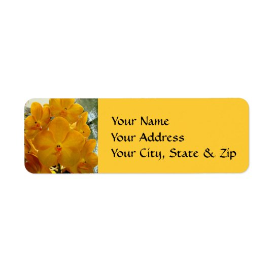 Happy Face Yellow Orchids Label