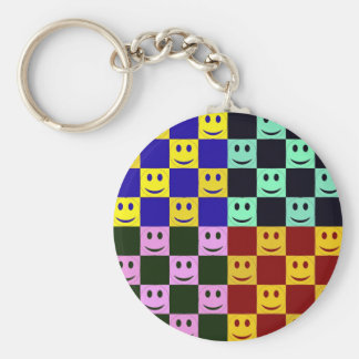 Happy Faces in Squares Basic Round Button Keychain