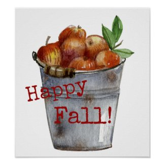 """Happy Fall!"" Autumn Apples Art Print Poster"