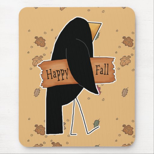 happy fall black crow mouse pad