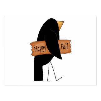 happy fall black crow postcard