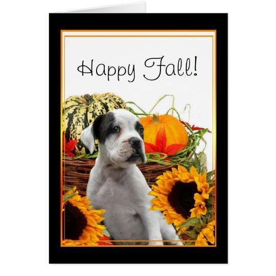 Happy Fall boxer puppy greeting card