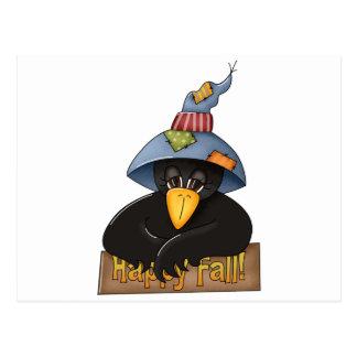 happy fall crow postcard