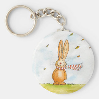 Happy Fall - Cute Autumn Greetings with Bunny in t Basic Round Button Keychain