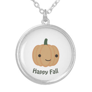 Happy Fall - Cute Pumpkin Silver Plated Necklace