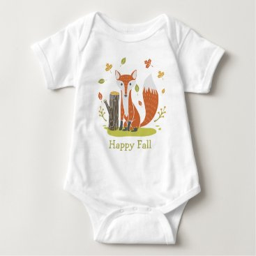Beach Themed Happy Fall Fox Baby Bodysuit
