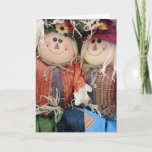 Adorable Fall Scarecrow Friends Halloween Thanksgiving Card (Visit shop to explore more sweet, clever and fun cards and gifts).