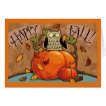 Happy Fall Owl and Pumpkin Card